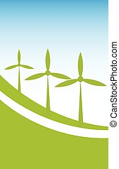 Wind power background vector illustration.