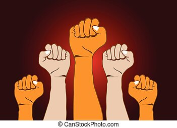 Revolution hands background vector illustration