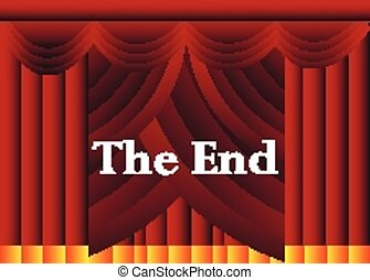 Theater the end curtains vector background.