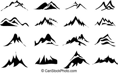 Mountains icons set in black.