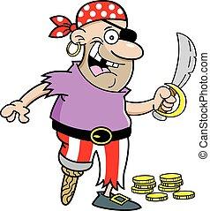 Cartoon pirate holding a sword - Cartoon illustration of a...