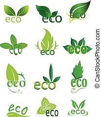 eco friendly icons set in green