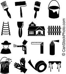 House painting icons set - House painting vector icons set...