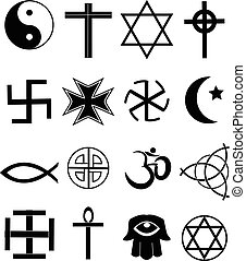 Religion icons set - Religion vector icons set in black