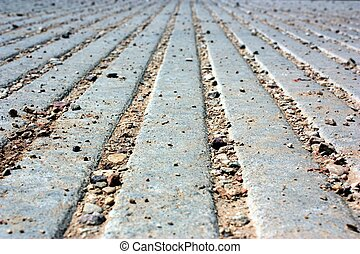 Vanishing Point Pavement - Gravel and concrete pavement...