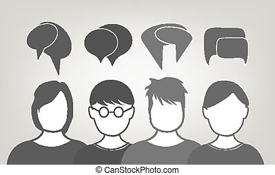 People talking vector illustration background.