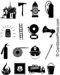 Firefighter icons set - Firefighter vector icons set in...