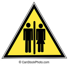 red stick figure man and woman or couple on yellow sign