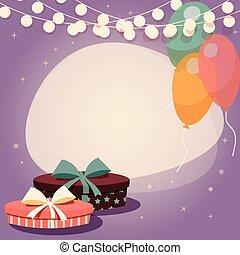 Birthday background with presents and balloons, vector...