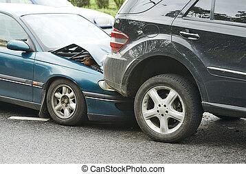 automobile crash collision in urban street - automobile...