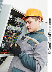 electrician at work - electrician builder engineer worker...