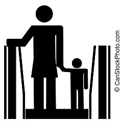 stick woman holding childs hand on escalator - stick woman...
