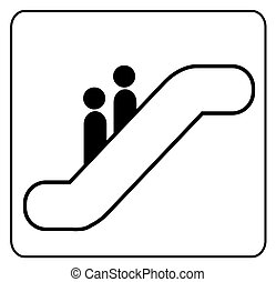sign showing two people riding on an escalator