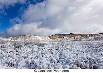 snow landscape - Winter landscape in mountains with the...