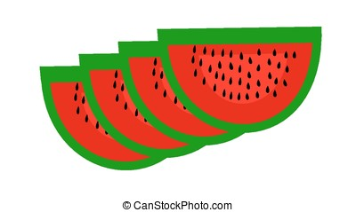 Four pieces of watermelon on a white background