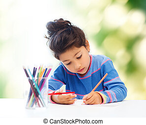 little girl drawing - children, hobby, childhood and happy...