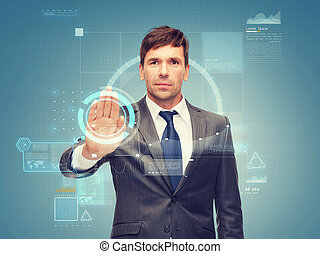 attractive buisnessman wotking with virtual screen -...