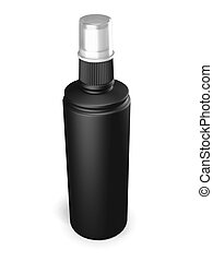 Black plastic bottle with spray on a white - Black plastic...