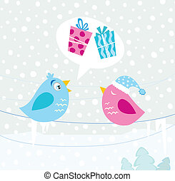 Christmas birds - Birds with christmas present. Vector...