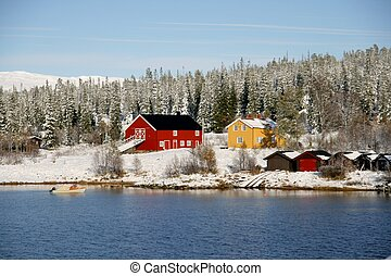 Farm in winter - Farm by a lake in a Norwegian mountain are