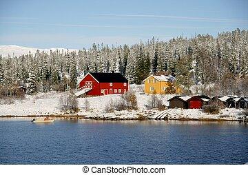 Farm in winter - Farm by a lake in a Norwegian mountain are