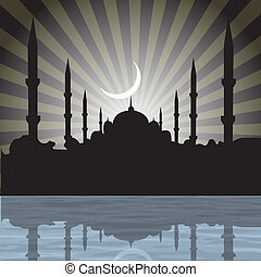 silhouette of a mosque with rays, moon background -...