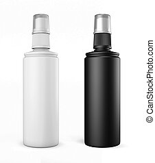 White and black plastic bottles with spray on a white...