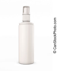 White plastic bottle with spray on white background. 3d...