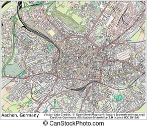 Aachen Germany city map aerial view