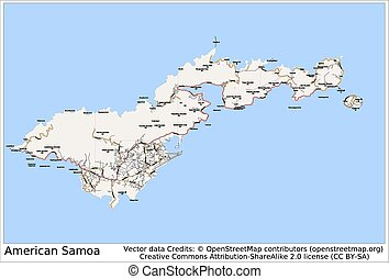 American Samoa Pacific island map aerial view