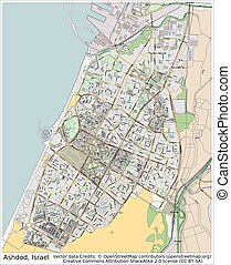 Ashdod Israel city map aerial view