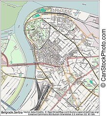 Belgrade Serbia city map aerial view