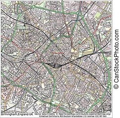Birmingham England UK city map aerial view
