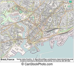Brest France city map aerial view