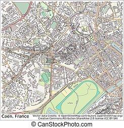 caen, francja, Miasto, mapa,