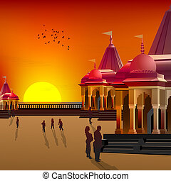 silhouette view of temple, place of worship - silhouette...