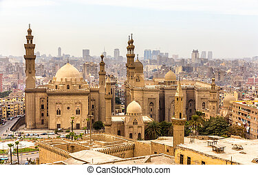 View of the Mosques of Sultan Hassan and Al-Rifai in Cairo -...