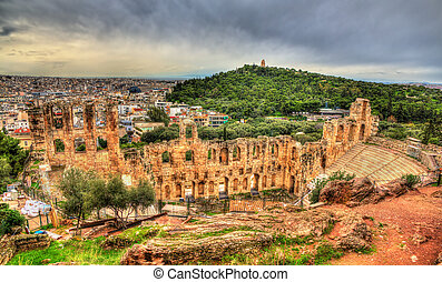 Odeon of Herodes Atticus, an ancient theatre in Athens,...