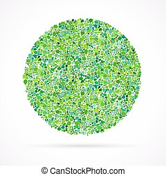 card background with circle of leaves - Spring card...