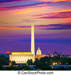 Washington Monument Capitol and Lincoln memorial -...