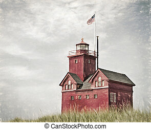 red lighthouse impressionism - Red lighthouse in Holland,...