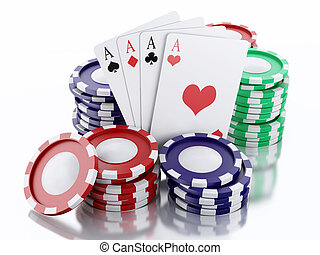 3d casino tokens and playing cards. Isolated white...