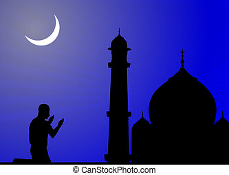 silhouette of human offering prayers at mosque - silhouette...