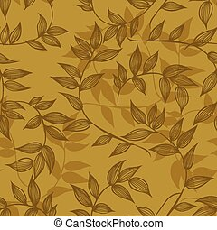 Seamless pattern of branches with leaves, hand-drawing. Vector i