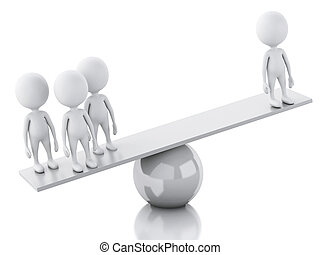 3d white people on a balance. Team concept, isolated white -...