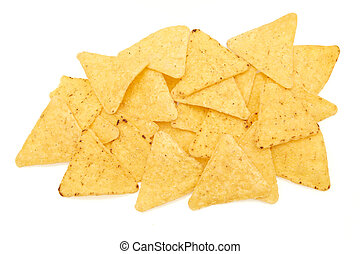 Tortilla chips on a white background