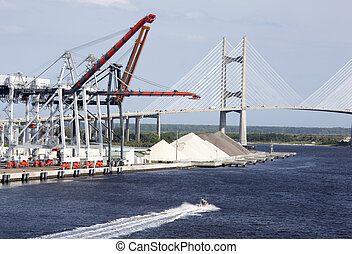 Jacksonville Port - The view of Jacksonville city port with...