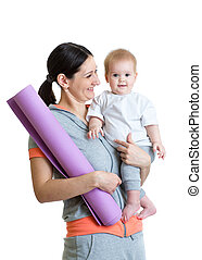 Mother holding baby ready to fitness isolated