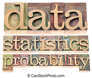 data, statistics and probability - isolated words in...