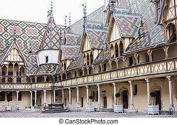 Inner Courtyard At Hospices de Beaune - The inner courtyard...